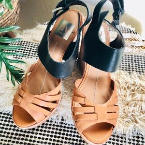 DV Dolce Vita leather Ankle strap wedges Size 7